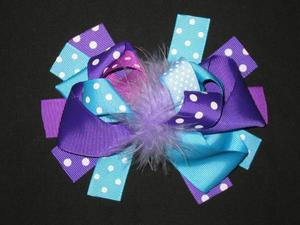 "NEW """"BLUE & PURPLE DOT"""" Fur Hairbow Alligator Clips Girls Ribbon Bows 5.5 Inches"