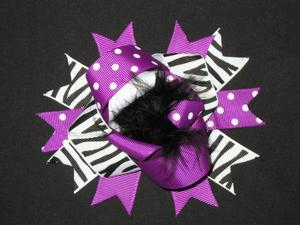 "NEW """"Purple Black Zebra"""" Fur Hairbow Alligator Clips Girls Ribbon Bows 4.5 Inch"
