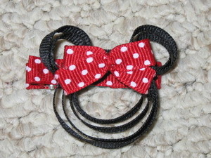 "NEW """"MINNIE MOUSE - RED"""" Girls Ribbon Hairbow Clip Bow Boutique Sculpture Disney"