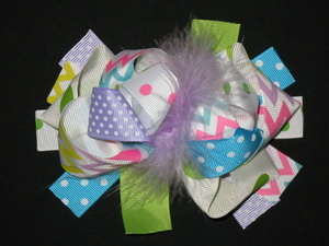 "NEW """"PASTEL CHEVRON"""" Fur Hairbow Alligator Clips Girls Ribbon Bows 5.5 Inch"