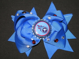 "NEW """"TENNESSEE TITANS"""" Pro Football Girls Ribbon Hair Bow Rhinestone Clip NFL"
