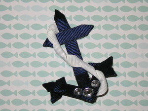 "NEW """"NAUTICAL ANCHOR"""" Girls Ribbon Hairbow Clip Grosgrain Bow Sculpture Water"