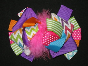 "NEW """"RAINBOW CHEVRON"""" Fur Hairbow Alligator Clips Girls Ribbon Bows 5.5 Inch"
