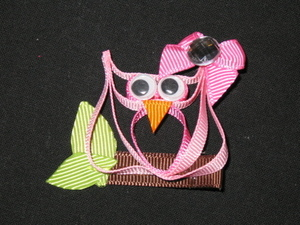 "NEW """"PINK OWL"""" Ribbon Sculpture Girls Hairbow Clip Clippie Bow Boutique Summer"