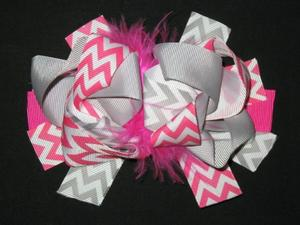 "NEW """"Pink & Gray CHEVRON"""" Fur Hairbow Alligator Clips Girls Ribbon Bows 5.5 in"