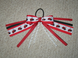 "NEW """"RED LADYBUGS"""" Pony Tail Bows Girls Ribbon Hair Bows Cheer Streamers"