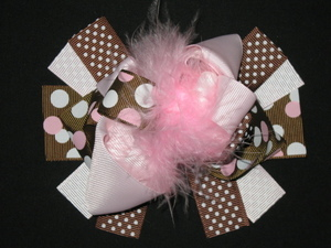 "NEW """"PINK & BROWN Dots"""" Fur Hairbow Alligator Clips Girls Ribbon Bows 5 Inches"