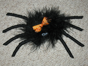 "NEW """"SPIDER FUZZY"""" Halloween Hair Bow Girls Fall Festival Hairbow Marabou Clip"