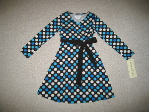 "NEW """"SILKY POLKA-DOTS"""" BLUE Dress Girls Clothes 5 Fall Winter Rare Editions Kids"