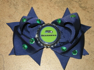"NEW """"SEATTLE SEAHAWKS"""" Pro Football Girls Ribbon Hair Bow Rhinestone Clip NFL"