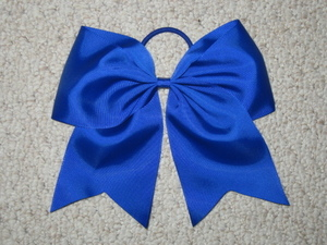 "NEW """"ROYAL BLUE"""" Cheer Bow Pony Tail 3 Inch Ribbon Girls Hair Bows Cheerleading"