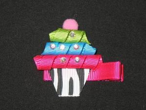 "NEW """"ZEBRA CUPCAKE"""" Hairbow Alligator Clip Girls Ribbon Sculpture Bows Birthday"