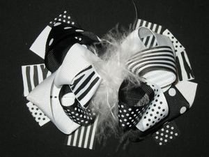 "NEW """"BLACK WHITE ZEBRA"""" Fur Hairbow Alligator Clips Girls Ribbon Bows 5.5 Inches"