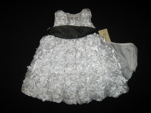 "NEW """"PURE WHITE ROSES"""" Dress Girls Baby Clothes 12m Spring Summer Boutique 2 pc"