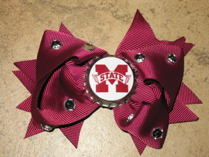 "NEW """"MISSISSIPPI STATE Bulldogs"""" MSU Girls Ribbon Hair Bow Rhinestone Clip NCAA"