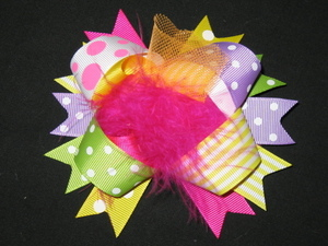 "NEW """"BIRTHDAY POOF"""" Fur Hairbow Alligator Clips Girls Holiday Party Ribbon Bows"