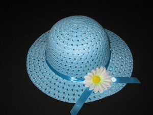 "NEW ""BLUE DAISY"" Dress Up Party Girls Easter Straw Hat Clothes Toddler Kids Tea Party"
