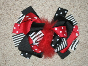 "NEW """"BLACK RED ZEBRA"""" Fur Hairbow Alligator Clips Girls Ribbon Bows 5.5 Inches"