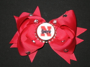 "NEW """"NEBRASKA Cornhuskers"""" University Girls Ribbon Hair Bow Rhinestone Clip NCAA"