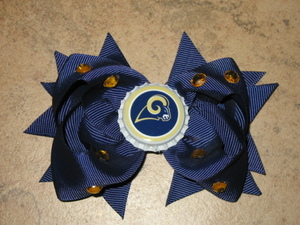 "NEW """"ST. LOUIS RAMS"""" Pro Football Girls Ribbon Hair Bow Rhinestone Clip NFL"