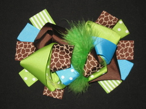 "NEW """"LIME BLUE GIRAFFE"""" Fur Hairbow Alligator Clips Girls Ribbon Bows 5.5 Inches"