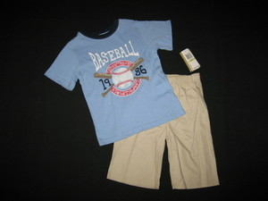 "NEW """"BASEBALL CHAMP"""" Shorts Boys Clothes 4T Spring Summer Toddler Kids School"