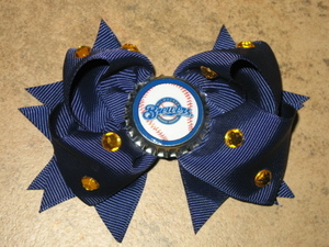 "NEW """"MILWAUKEE BREWERS"""" Pro Baseball Girls Ribbon Hair Bow Rhinestone Clip MLB"