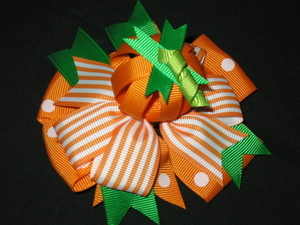 "NEW ""PUMPKIN PATCH"" Halloween Alligator Clips Girls Ribbon Hair Bows Fall Ribbon"