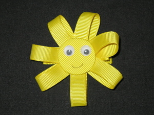 "NEW """"SUNSHINE"""" Ribbon Sculpture Girls Hairbow Clip Clippie Bow Boutique Summer"