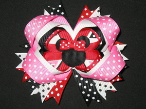 "NEW """"MINNIE MOUSE"""" Hairbow Alligator Clip Girls Ribbon Hair Bows Disney Vacation"