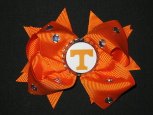 "NEW """"TENNESSEE Volunteers"""" University Girls Ribbon Hair Bow Rhinestone Clip NCAA"