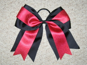 "NEW """"BLACK & RED GLITTER"""" Cheer Bow Pony Tail 3 Inch Ribbon Girls Cheerleading"