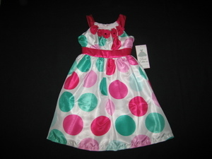 "NEW """"Jade & Fushia Dots"""" Dress Girls Clothes 6X Spring Summer Boutique Easter"