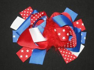 "NEW """"STARS Red White Blue"""" Fur Hairbow 4th of July Girls Ribbon Bows 5.5 Inch"
