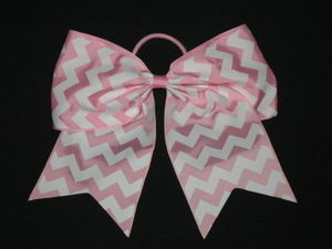 "NEW """"CHEVRON Light Pink"""" Cheer Bow Pony Tail 3"""" Ribbon Girls Hair Cheerleading"