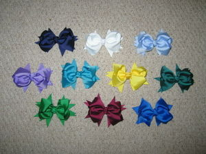 "NEW """"10 SOLID SCHOOL COLOR HAIR BOWS"""" 4"""" Grosgrain Ribbon Girls Alligator Clips"