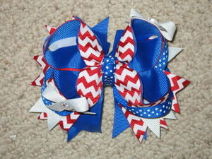 "New ""AMERICANA CHEVRON"" 4th of July Hairbow Alligator Clip Girls Ribbon Bow Boutique Fireworks America USA Memorial Day"