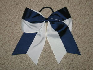 "NEW """"Two-Tone NAVY & WHITE"""" Cheer Bow Pony Tail Ribbon Girls Hair Cheerleading"