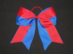 "NEW """"Two-Tone RED & BLUE Cheer Bow Pony Tail 3"""" Ribbon Girls Hair Cheerleading"