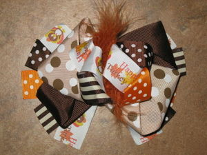 "NEW """"HAPPY TURKEY DAY"""" Fur Hairbow Alligator Clips Girls Ribbon Bows 5.5 Inches"