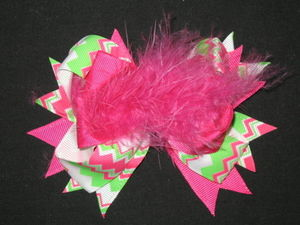 "NEW """"CHEVRON Pink & Green"""" Fur Hair Bows Alligator Clips Girls Grosgrain Ribbon"