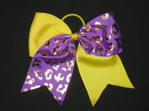 "NEW """"GOLD CHEETAH Purple Yellow"""" Tick Tock Cheer Bow Ribbon Cheerleading Ponytai"