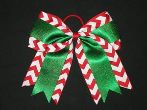 "NEW ""CHRISTMAS CHEVRON GLITTER"" Cheer Bow Pony Tail 3"""" Ribbon Girls Cheerleading"