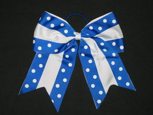 "NEW """"Double Dots ROYAL & WHITE"""" Cheer Bow Pony Tail Ribbon Hair Cheerleading"