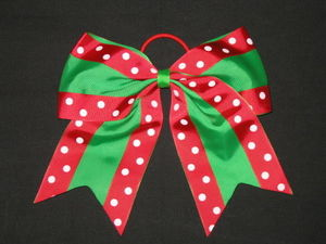"NEW """"Double Dots GREEN & RED"""" Cheer Bow Pony Tail Ribbon Hair Cheerleading"