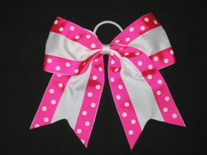 "NEW """"Double Dots PINK & WHITE"""" Cheer Bow Pony Tail Ribbon Girl Hair Cheerleading"