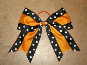 "NEW """"Double Dots BLACK & ORANGE"""" Cheer Bow Pony Tail Ribbon Hair Cheerleading"