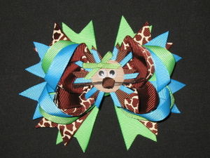 "NEW ""LION - Blue & Green"" Hairbow Alligator Clip Girls Grosgrain Ribbon Hair Bows Birthday Party Boutique Jungle Zoo Safari"