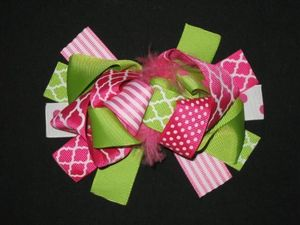 "NEW """"Hot Pink & Lime QUATREFOIL"""" Fur Hairbow Alligator Clips Girls Ribbon Bows"