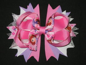 "NEW """"SOFIA THE FIRST"""" Pink & Silver Hairbow Alligator Clip Girls Ribbon Hair Bow"